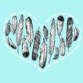 Tüyleri yürekten — Stok Vektör