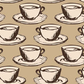 Modèle vectorielle continue avec des tasses de thé — Vecteur