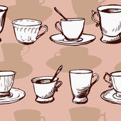 Seamless vector pattern with teacups — Stok Vektör