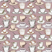 Seamless vector pattern with teacups — Vecteur