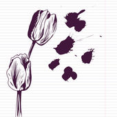 Ink drawing tulips — Stok Vektör