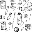Set of ink drawing needlework equipment — Stock Vector