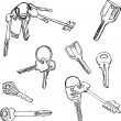 Set of different keys — Stock Vector