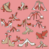 Set of different women shoes — Stock Vector