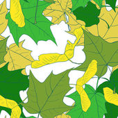 Seamless pattern with leaves of maple — Stock Vector