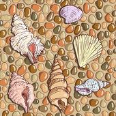 Coquillages au bord de la mer — Vecteur