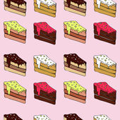 Seamless vector pattern with pieces of cake — Stockvektor