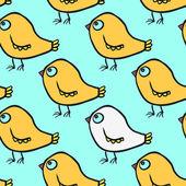 Seamless vector pattern with cartoon birds — Stock Vector