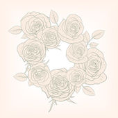 Floral frame with roses — Vector de stock
