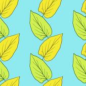 Patrón de vector inconsútil con hojas — Vector de stock