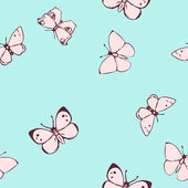 Seamless vector pattern with butterflies — Stock Vector