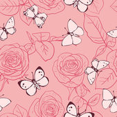 Seamless pattern with roses and butterflies — Stock Vector