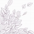 Cтоковый вектор: Ink drawing  leaves at lined paper