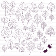 Stock vektor: Set of linear drawing leaves at lined paper