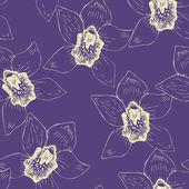Patrones sin fisuras con orquídeas dibujo lineal — Vector de stock