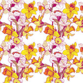 Vector seamless floral pattern with narcissuses — Stock Vector