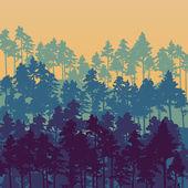 Paesaggio con alberi di pino — Vettoriale Stock