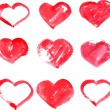 Set of different red heart painted by watercolor — Stock Vector #49647459