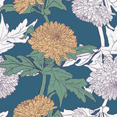 Seamless pattern with chrysanthemums — Cтоковый вектор