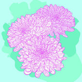 Floral card with chrysanthemum — Vecteur