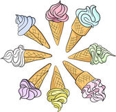Set of different ice creams — Stock Vector