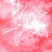 Watercolor background with linear drawing flower — Vecteur