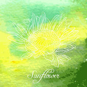 Watercolor background with linear drawing flower — ストックベクタ