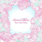 牡丹の花と花のフレーム — ストックベクタ