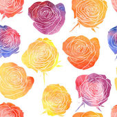 Vector seamless pattern with watercolor roses — Stock Vector