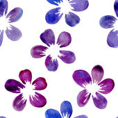 Vector seamless pattern with watercolor flowers — Stock Vector