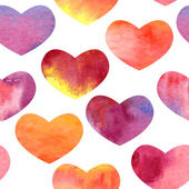 Vector seamless watercolor pattern with hearts — Stock Vector