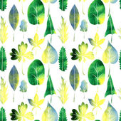 Seamless vector watercolor pattern with leaves — Stock Vector