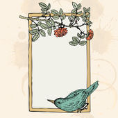 Frame with bird and roses — Stock Vector