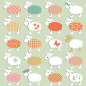 Set of different sheeps — Stock Vector