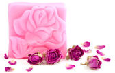 Pink bar of natural rose soap. — Stock Photo