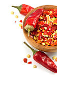 Chili red pepper with selective focus isolated — Stock Photo
