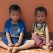 Two shy laotian kids of Golden-Triangle Hilltribe.  — Stock Photo