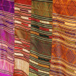 Handmade laotian silk scarves on the market stall in Luang Prabang, Laos — Stock Photo