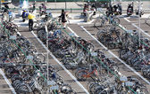 Crowded bicycle park-and-ride parking — Stock Photo