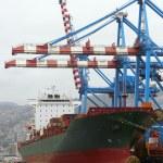 Cargo ship at the port — Stock Photo