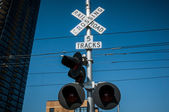 San Diego railroad crossing sign — Stock Photo