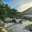 Limestones panoramic tropical beach with coconut palm. Koh Samui — Stock Photo