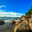 Rocks panoramic tropical beach with coconut palm. Koh Samui, — Stock Photo