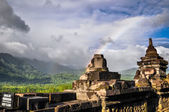 Rainbow Borobudur complex in Yogjakarta in Java — Stock Photo