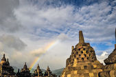 Stupa Rainbow Buddist temple Borobudur complex in Yogjakarta in — Stock Photo