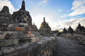 Buddist temple biggest heritage Borobudur complex in Yogjakarta — Stock Photo