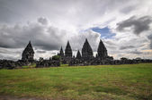 Meadow Hindu temple Prombanan complex in Yogjakarta in Java — Stock Photo