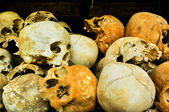 Skulls from the Killing Fields in Cambodia, this happened from a — Stock Photo