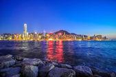 Hong Kong Skyscrapers at night. — Stock Photo