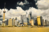 Shanghai, China - August 6, 2011: Cityscape Skyline taken from t — Stock Photo